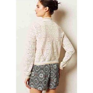 Anthropologie lace bomber jacket